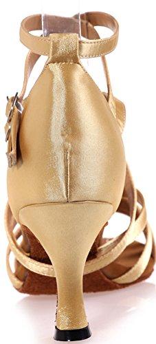 Vimedea Femmes Bout Ouvert Corps Bretelles Chaton Talon Confort Latin Tango Cha-cha Swing Salle De Bal Partie De Mariage Douce Sudue Satin Chaussures De Danse Or