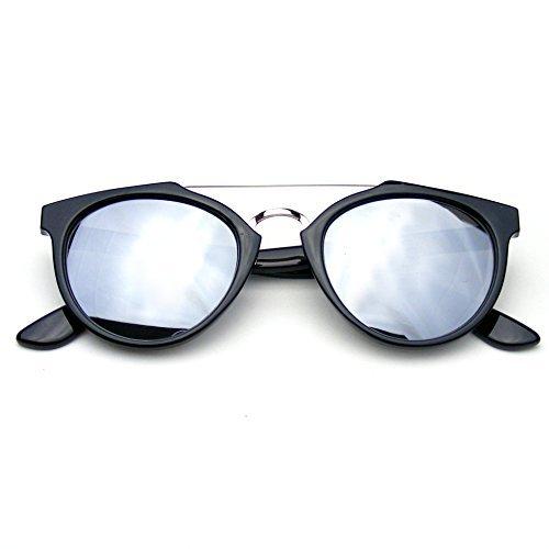 Dapper Lunettes Silver Lentille De Transversale Barre Flash Emblem Eyewear Vintage D'inspiration Miroir Soleil wqtt4z