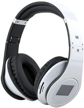 Rhaise - Auriculares inalámbricos de diadema para Samsung Galaxy Y TV S5367 (Bluetooth 3.0, con pantalla LED, cable de carga, micrófono), color blanco: Amazon.es: Electrónica