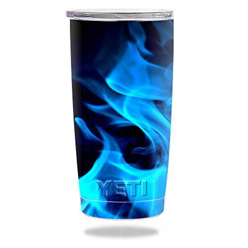 Price comparison product image MightySkins Protective Vinyl Skin Decal for YETI 20 oz Rambler Tumbler wrap cover sticker skins Blue Flames