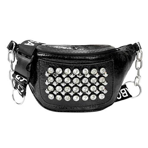 (Rhinestones Rivets Women PU Leather Fanny Pack Street Style Belt Bags Zipper Phone Waist Bag Black)