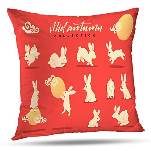 LILYMUA Happy Rabbit Mid Autumn Festival Collection Funny Bunny Flat Bunny Moon Zippered Pillow Cover,18 x 18 inch Square DecorativePillow Case Fashion Style Cushion Covers(Two Sides Print) -
