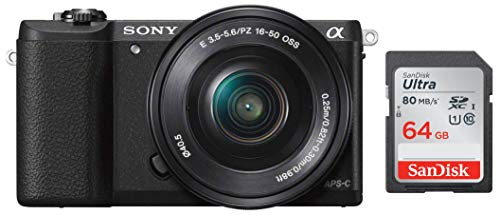 Sony Alpha ILCE5100L 24.3MP Digital SLR Camera (Black) with 16-50mm Lens, Bag & Sandisk 64 GB Memory Card 1