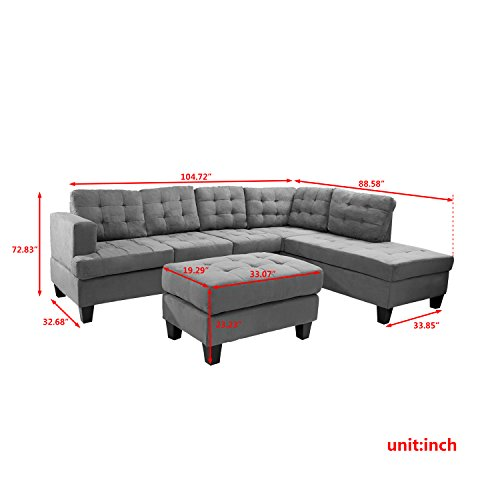 Merax Sofa 3-piece Sectional Sofa with Chaise and Ottoman,Gray