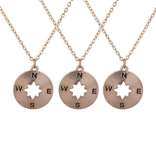 Lux Accessories Rose Gold Tone Compass Best Friends Bff Pendant Necklace Set 3PC