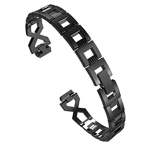 ❤️Compatible Fitbit Versa Bands for Women - X-Link Fashion Design Stainless Steel Metal Replacement Smart Watch Band Link Bracelet with Crystal Rhinestone Diamond Bling for Fitbit (Black)