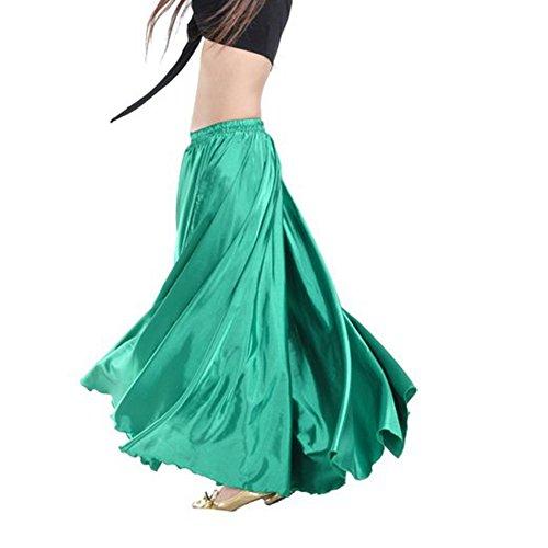 90 centimetri di danza del ventre di raso Lungo abito cintura elastica disegno vestito (nero) Verde