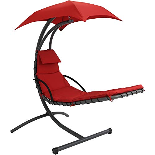 Sunnydaze Floating Chaise Lounger Swing Chair with Canopy, 79 Inch Long, Red, 260 Pound Capacity For Sale