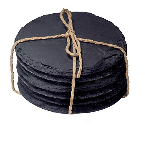 Silent MInd & Soul. 4 Pack Slate Stone Coasters Set with Steel Stand - Round Black Natural Edge Stone Drink Coasters for Bar and Home - 3.8 Inches in Diameter