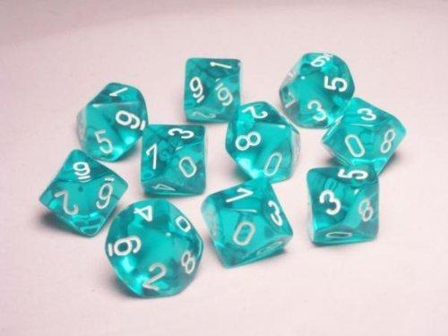 mejor marca Chessex Dice Sets  Teal with blanco Translucent Translucent Translucent - Ten Sided Die d10 Set (10)  artículos de promoción