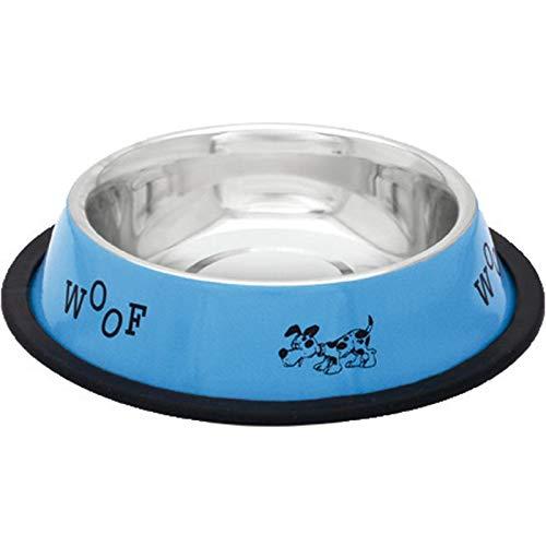 COMEDERO Perro Acero Inoxidable Azul Woof Ø25 cm. Capacidad ...