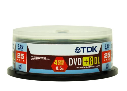 UPC 020356488215, TDK Electronics DVD+R85ACB25 2.4x Compatible Double Layered DVD Media (25-Pack)