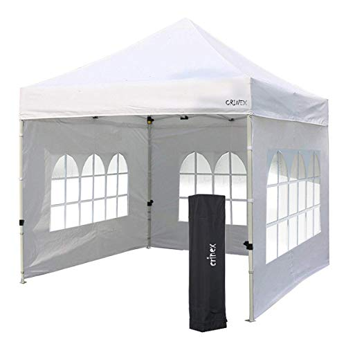 (CRINEX 10Ft X 10Ft White Pop Up Portable Shade Instant Folding Outdoor Gazebo Canopy Tent With 3 Removable Side Walls)