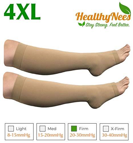 HealthyNees Big Tall Plus Size Wide Calf & Extra Wide 20-30 mmHg Open Toe Medical Compression Leg Swelling Circulation Men Women Socks (Beige, Wide Calf 4XL)