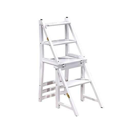 ZJⓇ Step stool American Multifunction Folding Chair - Chairs Seats Double Stool High Ladder Chair Multi-Function Shelves Rubber Wood Fold, Blue/White Height - Desk Shelves Ladder Double