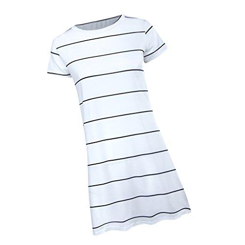 振る舞う別に霧深いDovewill 全4サイズ ポリエステル製 女性 夏 カジュアル ストライプ柄 ドレス ミニスカート ビーチウェア