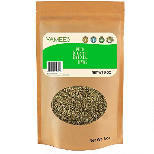 Yamees Basil Leaves - Dried Basil - Bulk Spices - 5 Ounce