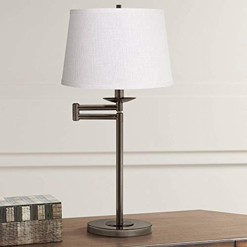 Swing Arm Desk Table Lamp Bronze White Linen Fabric Tapered Drum Shade for Living Room Bedroom Nightstand Office Family - 360 Lighting