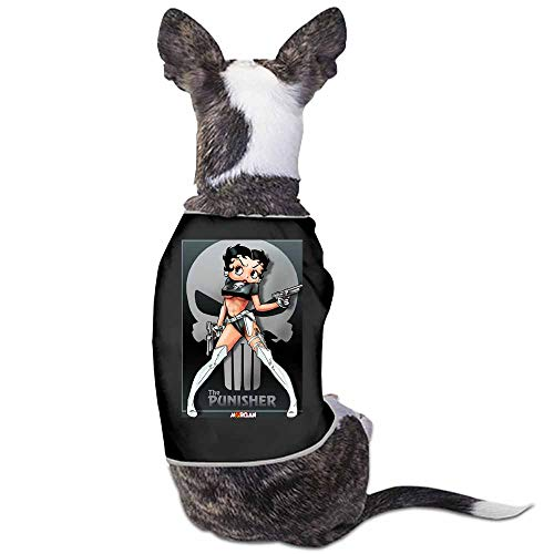 StyleDirect Dog Summer Vest Clothes,Betty Boop Print Sleeveless T Shirt for Small Pet(Black)-M