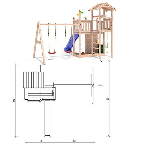 Isidor Bugsly Bee Spielturm Kletterturm 2 Schaukeln Rutsche Strickleiter (mit einfachem Schaukelanbau inkl. 2 Schaukeln)