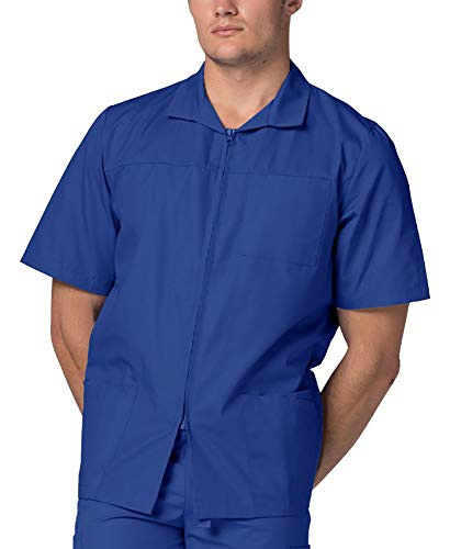 - Adar Universal Men's Zippered Short Sleeve Jacket (Available in 7 Colors) - 607 - Royal Blue - M