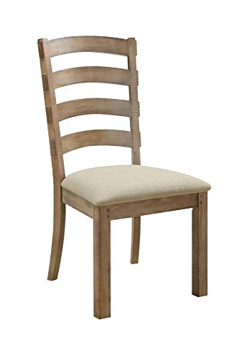 Emerald Home Bel Air Brown Dining Chair with Upholstered Seat And Ladder Back, Set of ()