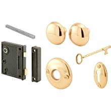 Prime-Line E 2437 Vertical Trim Lock Set, 2-1/2 in. Backset, Cast Steel, Brass Plated Knobs, Keyed Alike