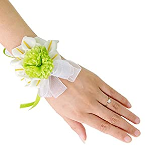 Freedi Bridal Wedding Wrist Bridesmaid Hand Corsage Flower Bracelets Prom Party Wristband 12