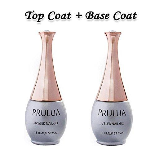 PRULUA Gel Nail Polish No Wipe Top and Base Coat Set Soak Off UV LED Gel Nail Lacquer - 2 x 16.8ml