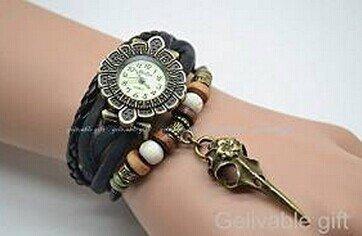 Steampunk reloj de pulsera, pájaro cabeza hueso calavera pulsera reloj, reloj de pulsera trenzado: Amazon.es: Juguetes y juegos