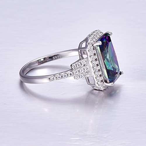 Merthus 925 Sterling Silver Created Mystic Rainbow Topaz Halo Engagement Ring for Women by Merthus (Image #3)