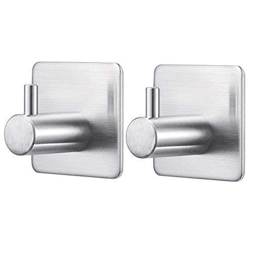 UPSTONE Towel Hook 3M Ceramic Tile Self Adhesive Wall Hanging Hooks for Bathroom,Kitchen,Bedroom and Shower Organizer Heavy Towel Rack (2Pack)