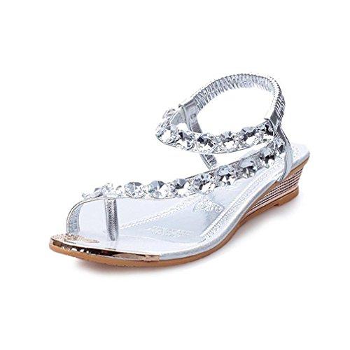 Koly Women Summer Bohemia Sweet Flower Beads Flip-flop Shoes Flat Sandals Beach Shoes Silver SnSaGf