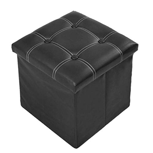 (Bdfjhoiugk PU Foldable Storage Box Household Ottoman Storage Stool -38 38 38cm - Maximum Load Capacity 150kg - Easy to Clean (Color: Brown) (Color : Schwarz, Size : -))