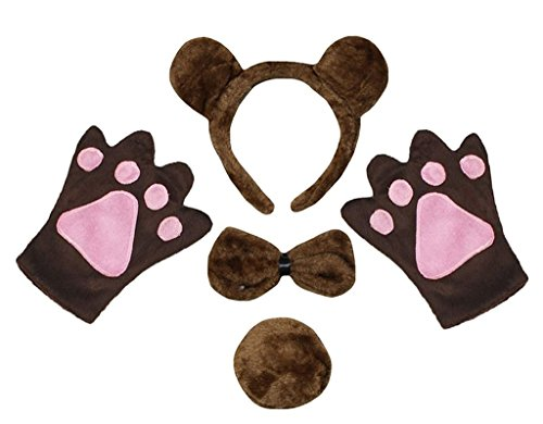 Petitebella Headband Bowtie Tail Gloves Unisex Adult 4pc Costume (Bear)