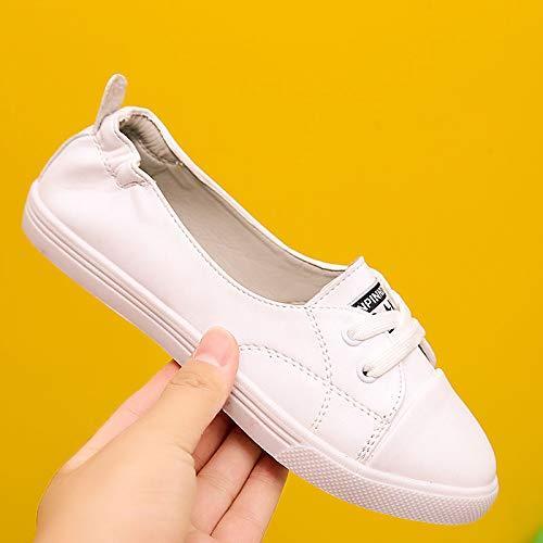 Flat Toe Sneakers Comfort Heel Blanco Mujer PU de Poliuretano Fall ZHZNVX Zapatos Negro White Round 8pfY0x