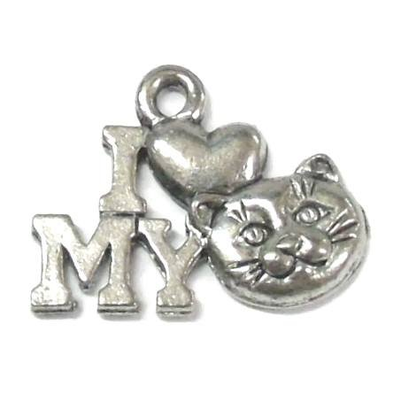 20 Cat Charms silver tone I love my cat - I Love My Cat Charm
