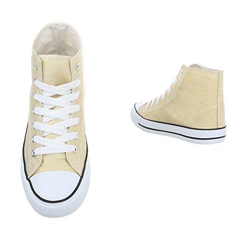 Schnürsenkel Sneakers Freizeitschuhe Design Ital High Damenschuhe 68 Gold 2 G I6RwqO