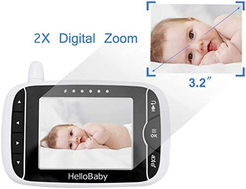 41CJeqLEC8L. AC Video Baby Monitor with Camera and Audio   Keep Babies Nursery with Night Vision, Talk Back, Room Temperature, Lullabies, 960ft Range and Long Battery Life    Hellobaby Video Baby Monitor HB32 - REACH FEATURES