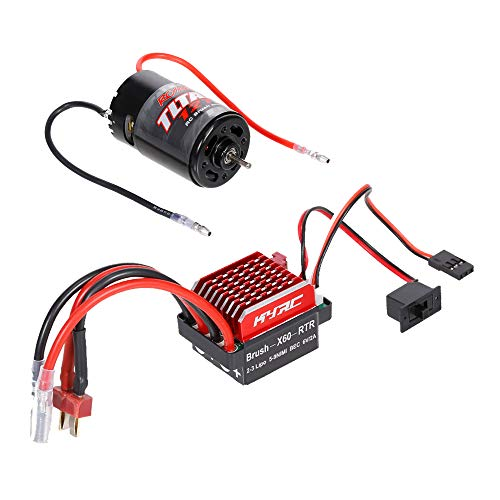 GoolRC 550 12T Brushed Motor with 60A Brushed ESC Electric Speed Controller (T Male Plug) Replacement for 1/10 HSP HPI WLtoys Kyosho Traxxas RC Car Truck