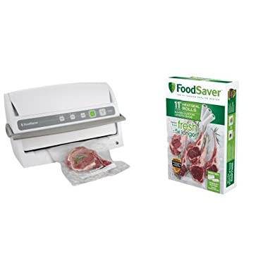 FoodSaver V3240 Vertical Vacuum Sealer and FoodSaver FSFSBF0634 11-Inch by 16-Feet Long Roll Bundle