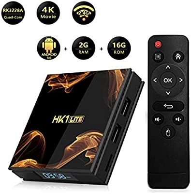 WXJHA Android 9.0 TV Box HK1 Lite Smart TV Box de 2 GB DDR3 16GB WiFi 2.4G 4K Media Player RK3228A Quad Core Set Top Box: Amazon.es: Hogar