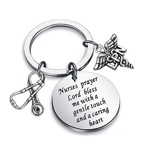 Zuo Bao Nurse's Prayer Necklace with RN Charm,Gifts for Nurses, Nursing Graduation, Medical Jewelry (LPN S Keychain)