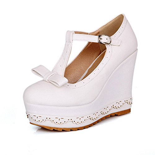 Odomolor Women's Buckle Round Closed Toe High Heels Solid Pumps-Shoes White
