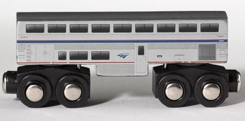 Amtrak Wooden Train Superliner Coach Car 4.25 inch Compatible with Other Railroads