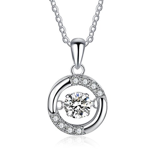 Furious Jewelry 925 Sterling Silver Beating Heart Charm Circle CZ Pendant Necklace, Rolo Chain 16'' + 2'' (Necklace Zirconia 16' Cubic Fashion)