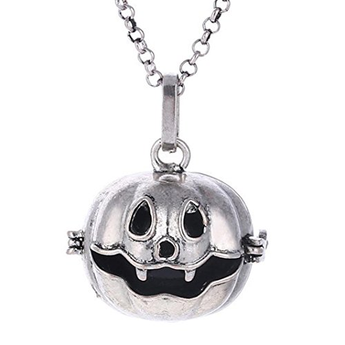 Glass Navy Necklace (Lucoo Fashion Halloween Pumpkin Perfume Essential Oil Diffuser Long Sweater Chain Necklace (Silver))
