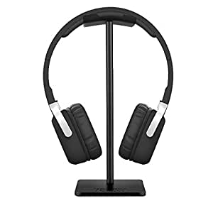 Headphone Stand Headset Holder New Bee Earphone Stand with Aluminum Supporting Bar Flexible Headrest ABS Solid Base for All Headphones Size - Black