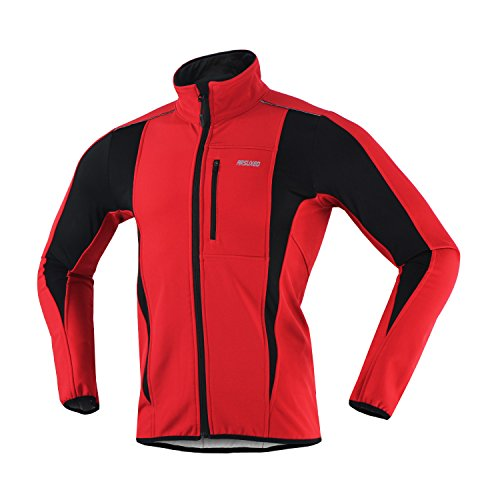 ARSUXEO Winter Warm UP Thermal Softshell Cycling Jacket Windproof Waterproof Bicycle MTB Mountain Bike Clothes 15-K Red Size XX-Large