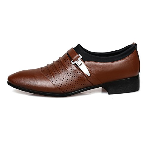 de on Transpirable Oxfords Upper Smooth Fang Leather Hombre Mesh Negro 40 EU shoes Negocios de Hombre PU Splice Color Marrón Zapatos 2018 Zapatos Slip Tamaño aZq4X
